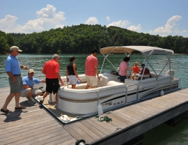 Setting sail on beautiful Lake Keowee from The Reserve Marina.