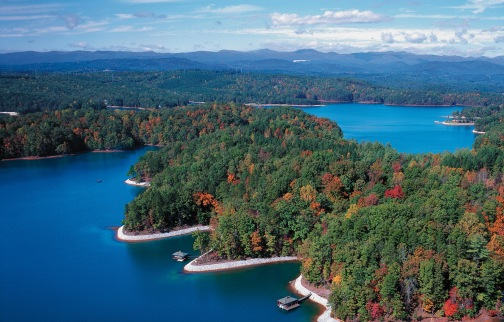 Aerial view of The Reserve at Lake Keowee, South Carolina with fall foliage