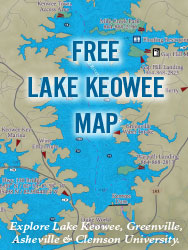 Explore Lake Keowee near Greenville, Asheville, and Clemson University.